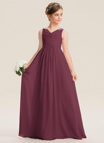 A-Line V-neck Floor-Length Chiffon Junior Bridesmaid Dress With Ruffle Beading Sequins