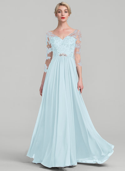 Vestidos princesa/ Formato A Decote V Longos Tecido de seda Renda Vestido para a mãe da noiva
