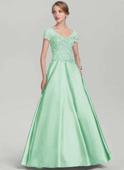 Трапеция/Принцесса V-образный Длина до пола Атлас Кружева Платье Для Матери Невесты с развальцовка блестки