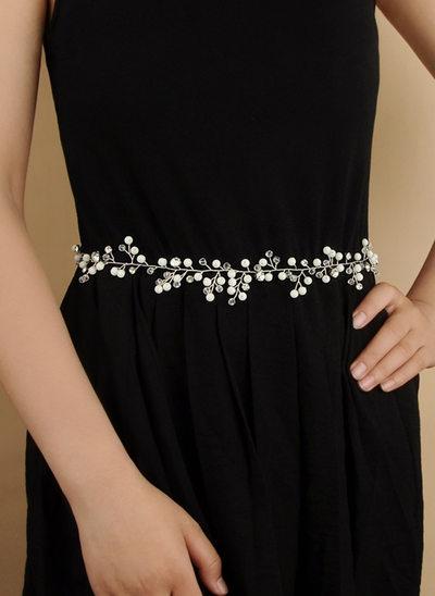 Elegant Satin Sash With Crystal/Imitation Pearls