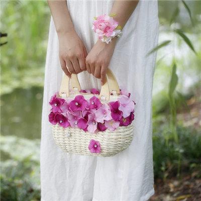 Brautjungfern Geschenke - Zarte Porzellan Seide Stroh Handtasche