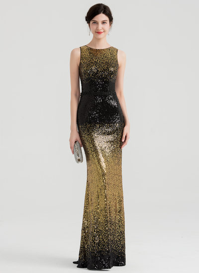 Trumpet/Mermaid Scoop Neck Floor-Length Sequined Evening Dress With Beading