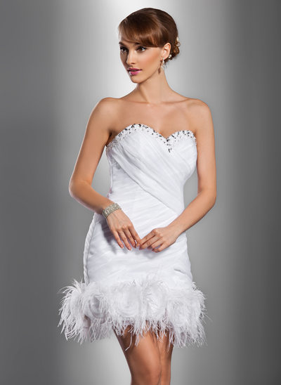 Sheath/Column Sweetheart Short/Mini Satin Organza Wedding Dress With Ruffle Beading Feather Flower(s)