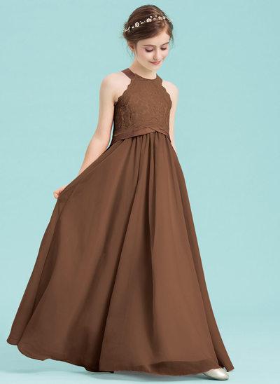 Corte A Decote redondo Longos Tecido de seda Vestido de daminha júnior