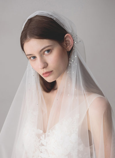 One-tier Elbow Bridal Veils With Rhinestones