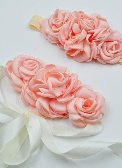 Smukke/Blomsterpige Satin Bælterem med pandebånd
