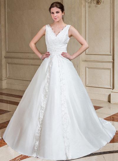 A-linjeformat V-ringning Chapel släp Taft Bröllopsklänning med Spetsar Pärlbrodering Paljetter