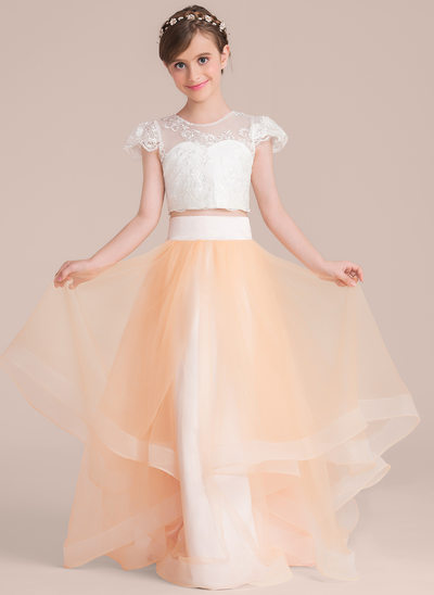 Scoop Neck Floor-Length Tulle Junior Bridesmaid Dress