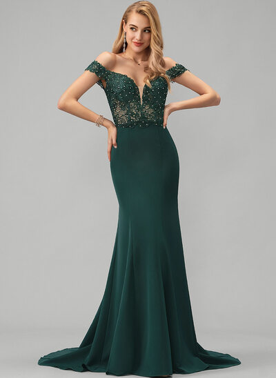 Trumpet/Mermaid Off-the-Shoulder Sweep Train Stretch Crepe Prom Dresses With Lace Beading