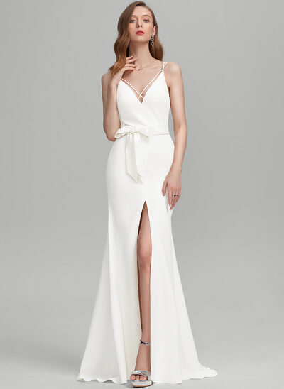 Sheath/Column V-neck Sweep Train Stretch Crepe Evening Dress With Bow(s) Split Front