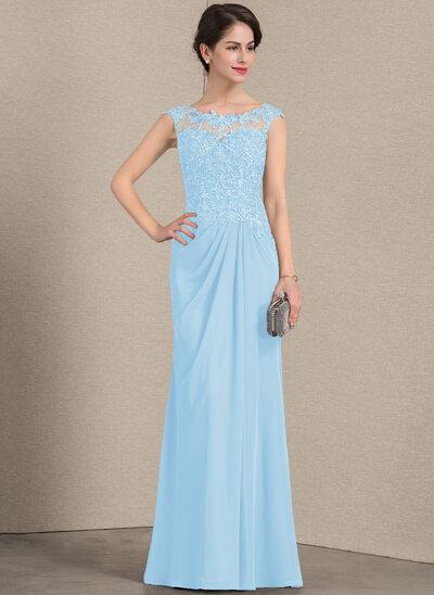 A-Linie/Princess-Linie U-Ausschnitt Bodenlang Chiffon Spitze Kleid für die Brautmutter mit Rüschen