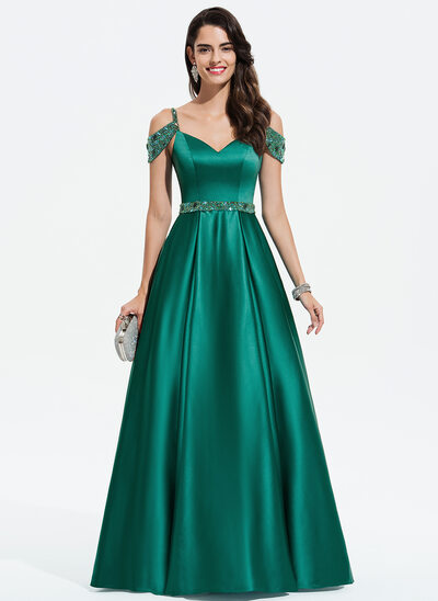 Ball-Gown/Princess V-neck Floor-Length Satin Evening Dress With Beading Sequins