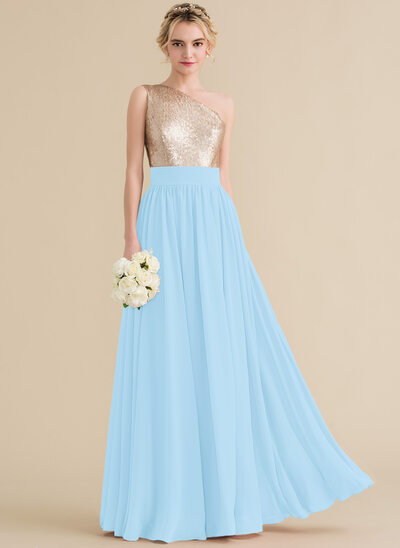 Vestidos princesa/ Formato A Um ombro Longos Tecido de seda Lantejoulas Vestido de baile