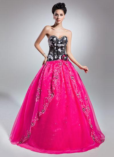Corte de baile Novio Hasta el suelo Organdí Vestido de quinceañera con Cuentas Los appliques Encaje Flores Lentejuelas