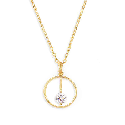 18k Gold Plated Silver Multiple Pendant Necklace With Diamond - Valentines Gifts