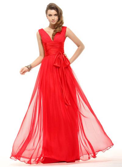A-Line/Princess V-neck Floor-Length Chiffon Prom Dress With Ruffle Bow(s)