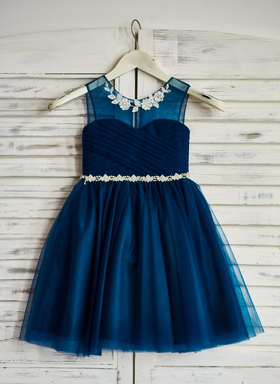 A-Line/Princess Knee-length Flower Girl Dress - Tulle Sleeveless Scoop Neck With Beading/Sequins