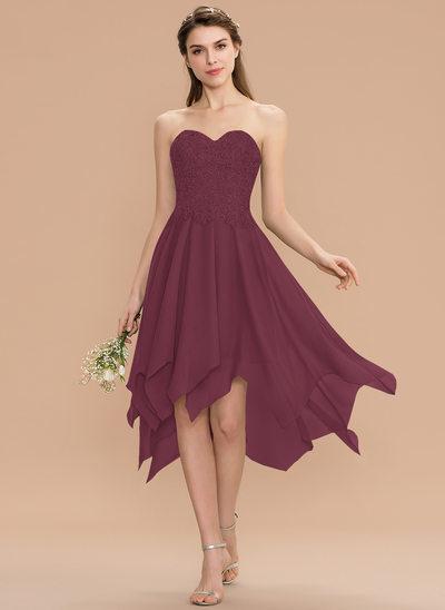 A-Line Sweetheart Asymmetrical Chiffon Lace Bridesmaid Dress