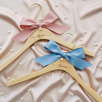 Bride Gifts - Fascinating Wooden Silk Imitation Pearls Hanger (Set of 2)
