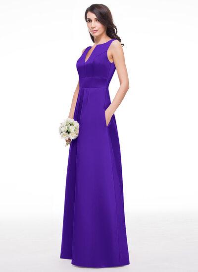Трапеция/Принцесса V-образный Длина до пола Атлас Платье Подружки Невесты с Рябь