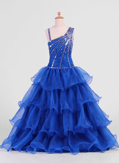 A-Line/Princess Floor-length Flower Girl Dress - Organza Sleeveless With Ruffles/Beading/Sequins