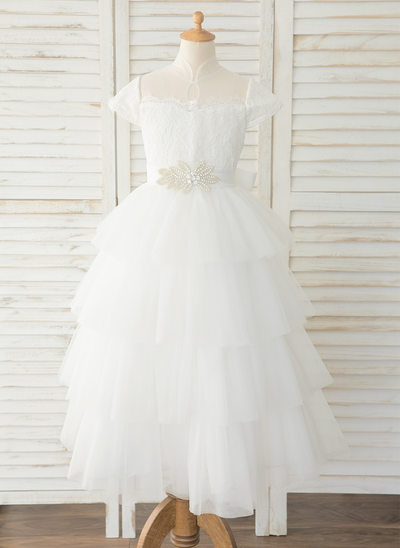 Ball-Gown/Princess Floor-length Flower Girl Dress - Tulle/Lace Short Sleeves Mandarin collar With Rhinestone