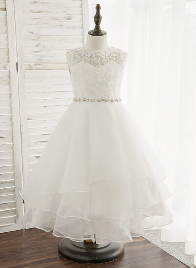 A-Line Tea-length Flower Girl Dress - Organza/Lace Sleeveless Scoop Neck With Beading/Rhinestone