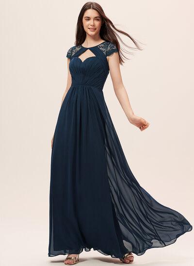 Çan Yuvarlak Yaka Uzun Etekli Şifon Dantel Nedime Elbisesi Ile Büzgü