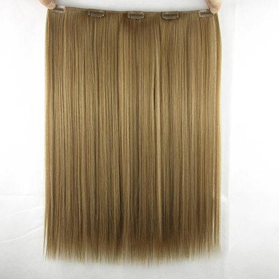 Derecho Pelo sintético Extensiones de cabello con clip (Vendido en una sola pieza) 80g