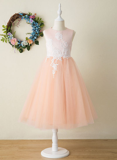 A-Line Tea-length Flower Girl Dress - Satin/Tulle Sleeveless Scoop Neck With Appliques