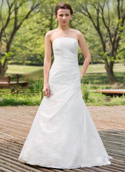 A-Line/Princess Strapless Floor-Length Taffeta Wedding Dress With Ruffle