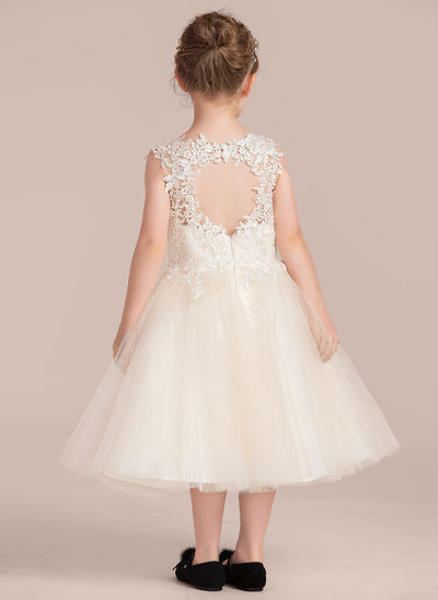 Princesový Po kolena Flower Girl Dress - Tyl/Krajka Bez rukávů Scoop Neck S Krajka
