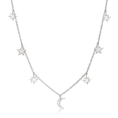 Christmas Gifts For Her - Sterling Silver Moon Star Choker Necklace With Moon Star