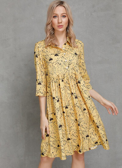 Knee Length Shirt collar Cotton Blends Print 1/2 Sleeves Fashion Dresses