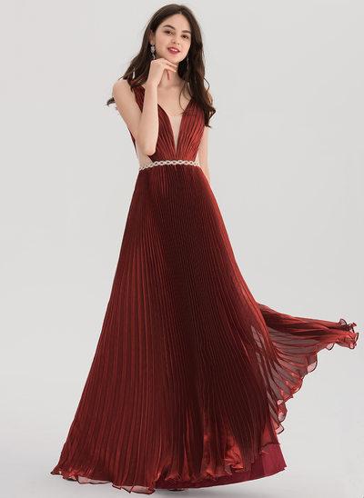 Vestidos princesa/ Formato A Decote V Longos voile Vestido de baile com Beading Plissada
