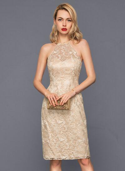 Jacka Rund-urringning Knälång Spets Cocktailklänning med Beading Paljetter