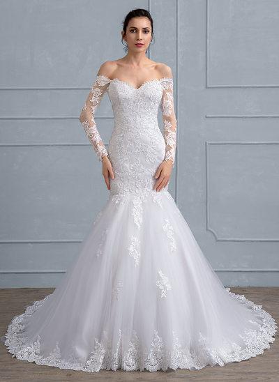 Trompete/Sereia Off-the-ombro Cauda longa Tule Renda Vestido de noiva com Beading lantejoulas