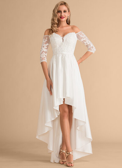 A-linje Off-shoulder Asymmetrisk Satin Blonder Brudekjole