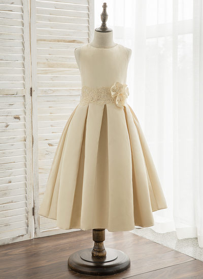 Vestidos princesa/ Formato A Comprimento médio Vestidos de Menina das Flores - Cetim/Renda Sem magas Decote redondo com fecho de correr