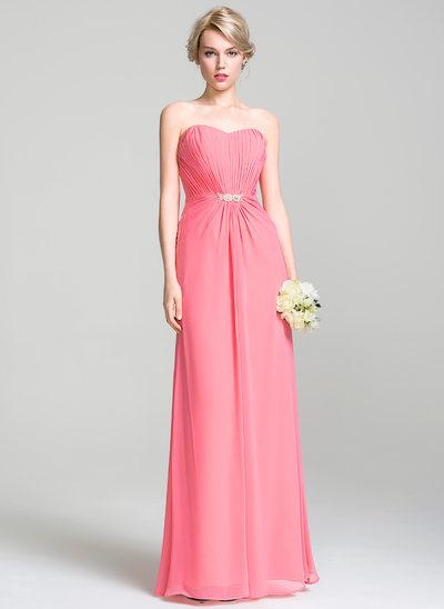 A-Line/Princess Sweetheart Floor-Length Chiffon Bridesmaid Dress With Ruffle Beading Sequins