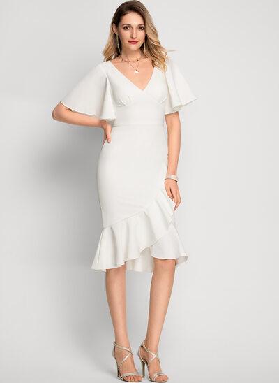 Syrena Litera V Asymetryczny Elastyczna Krepa Sukienki Koktajlowe
