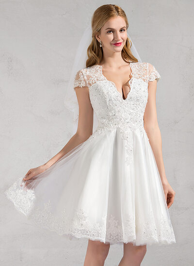 A-Line/Princess V-neck Knee-Length Tulle Wedding Dress With Lace Beading Appliques Lace Sequins