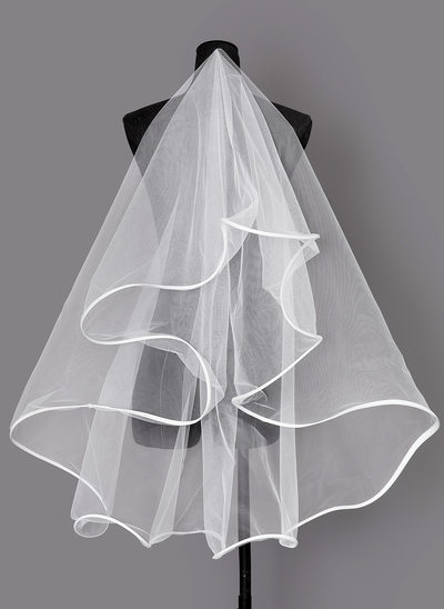 Uma camada Borda com tira Cotovelo véus nupciais
