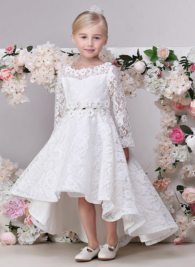 A-Line/Princess Asymmetrical Flower Girl Dress - Lace Long Sleeves Jewel With Flower(s)