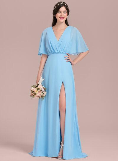 Corte A Decote V Longos Tecido de seda Vestido de madrinha com Curvado Frente aberta
