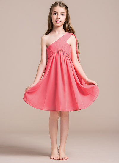 Empire One-Shoulder Knee-Length Chiffon Junior Bridesmaid Dress With Ruffle