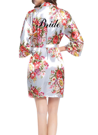 Personalized Bride Bridesmaid Flower Girl Polyester With Short Personalized Robes Floral Robes Girl Robes