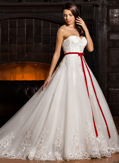 Ball-Gown Sweetheart Cathedral Train Tulle Wedding Dress With Beading Appliques Lace Flower(s) Sequins Bow(s)