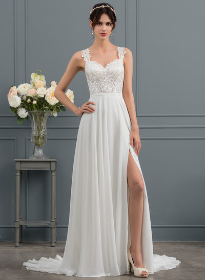 A-Line/Princess Sweetheart Court Train Chiffon Wedding Dress With Split Front