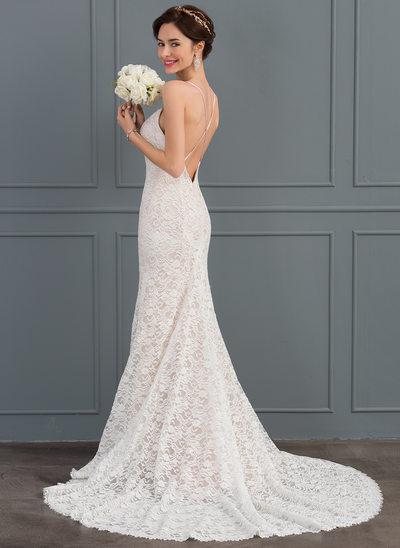 Раструб/Платье-русалка возлюбленная Церемониальный шлейф Кружева Свадебные Платье